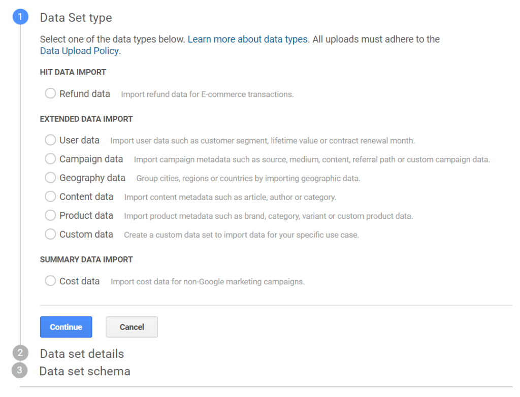 Data Import 설정 화면